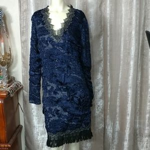 ELIE TAHARI Midi Stretch Fringe Dress NEW